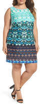 Taylor Mixed Print Scuba Sheath Dress (Plus Size)