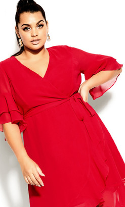 City Chic Flutter Frill Dress - red