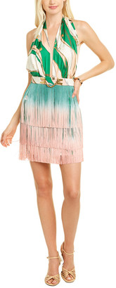 Elisabetta Franchi Fringe Halter Silk Mini Dress