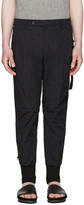 Wooyoungmi Navy Nylon Embroidered Trousers