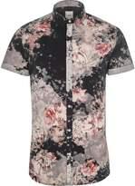 River Island Mens Black floral slim fit short sleeve shirt