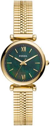 Fossil Women Mini Carlie Gold-Tone Stainless Steel Mesh Bracelet Watch 28mm