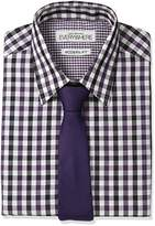 Nick Graham Men's Gingham Dress Shirt and Tie Set