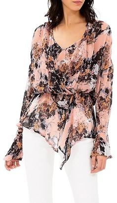IRO Paradon Floral Bell-Sleeve Faux Wrap Peplum Top