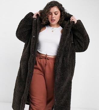 ASOS DESIGN Curve teddy hooded oversized parka in dark brown