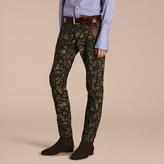Burberry Slim Fit Floral Jacquard Jeans