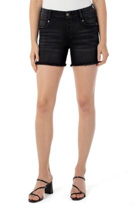 Liverpool Gia Glider Fray Hem Pull-On Denim Shorts