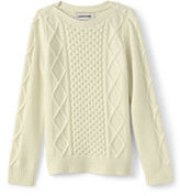 Lands' End Girls Cashmere Aran Cable Sweater-Gray Heather Stripe