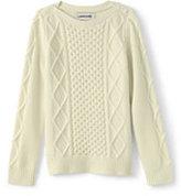 Lands' End Girls Cashmere Aran Cable Sweater-Soft Blush
