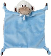 "First Friends First Friends Blue Monkey 9"" Knotted Flatsie Blankie with Single Detachable Breast Feeding Pacifier"