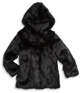 Adrienne Landau Toddler's, Little Girl's & Girl's Rabbit Fur Hooded Coat