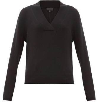 Nili Lotan Beacon Surplice V-neck Cashmere Sweater - Womens - Black