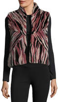 Pologeorgis Stand-Collar Intarsia Fur Vest