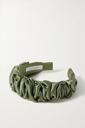 Jennifer Behr Amelia Ruched Silk-satin Headband - Army green