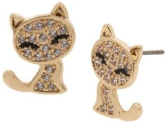Betsey Johnson Cubic Zirconia Cat Stud Earrings