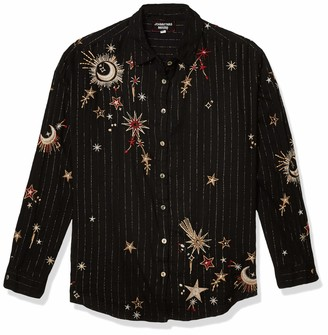3J Workshop by Johnny was Women's Oversized Buttondown Shirt with All Over Moon and Star Print