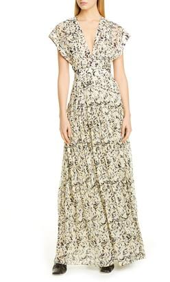 Proenza Schouler Abstract Animal Print Crepe Chiffon Maxi Dress