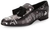 Jimmy Choo Foxley Multi Logo-Print Tassel Loafer, Black/White