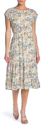 June & Hudson Short Sleeve Floral Print Smocked Waist Maxi Dress