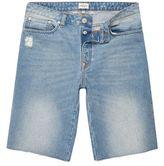 River Island MensLight blue wash frayed denim shorts