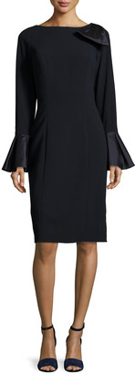 Rickie Freeman For Teri Jon Bell-Sleeve Crepe Sheath Dress, Navy
