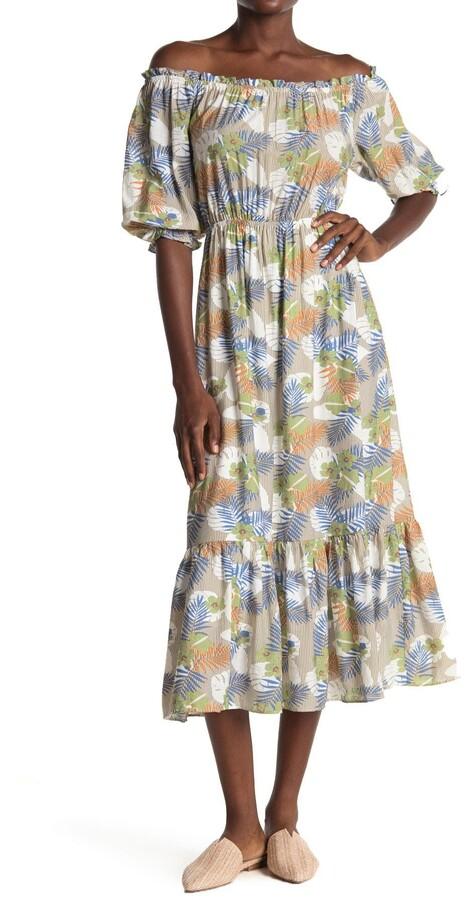 ALL IN FAVOR Hawaiian Print Off-the-Shoulder Midi Dress