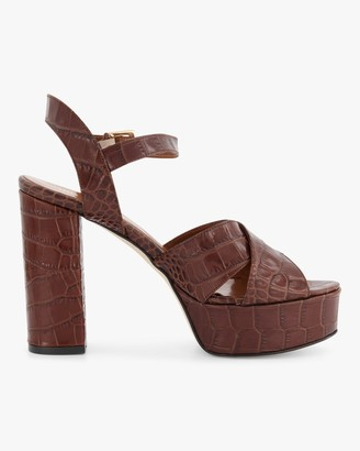 Paris Texas Croc-Embossed Leather Platform Sandal