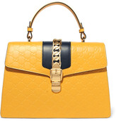 Gucci Sylvie Embossed Leather Tote - Yellow