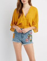 Charlotte Russe Pleated Dolman Crop Top
