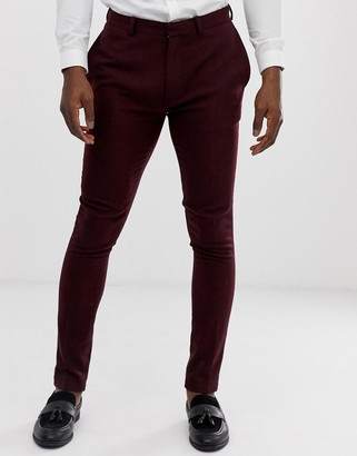 ASOS DESIGN wedding super skinny suit pants in burgundy twill