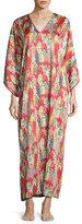 Natori Dynasty Pearl-Print Long Caftan, Red/Multicolor, Women's