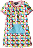 Toobydoo Short Sleeve Dot Pocket Dress w/ Blue Pocket (Infant/Toddler)