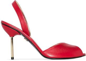 Charles Jourdan x Browns Red 1979 90mm leather slingback pumps