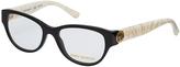Tory Burch Black & Ivory Marble Cat-Eye Eyeglasses