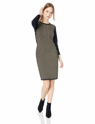 Sandra Darren Women's 1 PC Petite Long Sleeve Metallic Print Sweater Dress