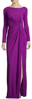 J. Mendel Long-Sleeve Ruched-Waist Gown, Orchid