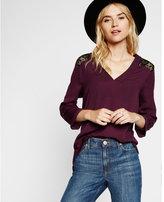 Express deep v-neck lace yoke blouse