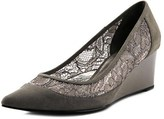 Adrianna Papell Langley Women Open Toe Leather Gray Wedge Heel.