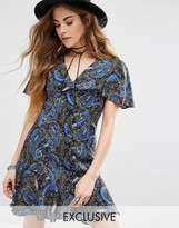 Reclaimed Vintage Button Front Dress With Frill Hem Detail In Paisley Floral