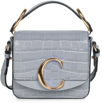 Chloé Mini C Croc-Embossed Leather Crossbody Bag