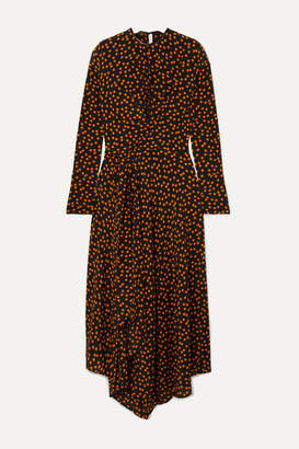Petar Petrov Asymmetric Polka-dot Silk Crepe De Chine Wrap Dress - Black