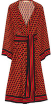 Michael Kors Printed Wrap-effect Silk Dress - Crimson