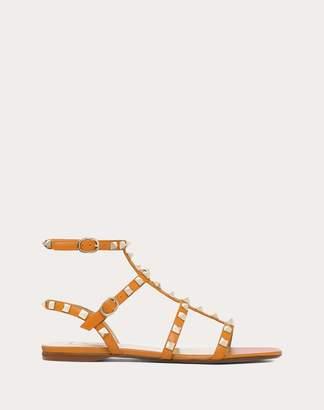 Valentino Garavani Rockstud Calfskin Ankle Strap Flat Sandal Women Tan 38.5