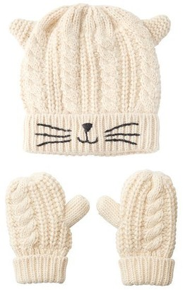 Indigo Kids Kitty Hat & Mitten Set Ivory 4-6 Yr