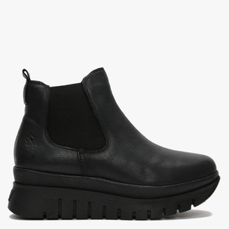 Fly London Besi Black Leather Chunky Chelsea Boots