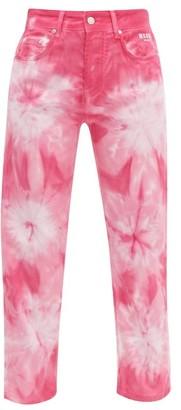 MSGM Tie-dye Straight-leg Jeans - Womens - Pink White