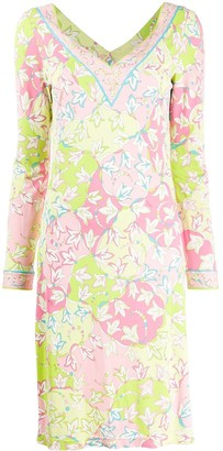 Emilio Pucci Pre Owned Floral Print Long-Sleeved Stretch Dress