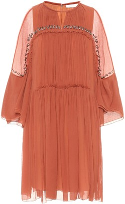 Chloé Embellished silk-crepon dress