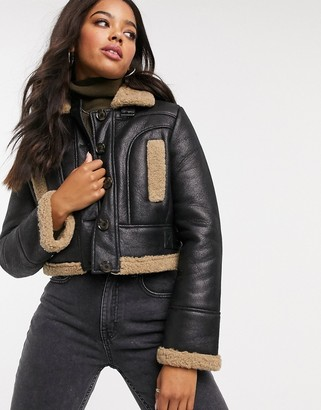 French Connection faux fur cropped biker jacket in black