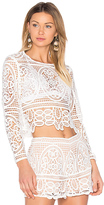 Aijek Blackjack Embroidered Cropped Blouse in White. - size 3/L (also in )